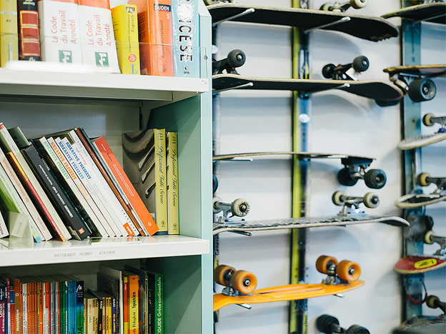 Skateboards and books