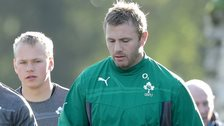 Luke Marshall and Roger Wilson at an Ireland training session in 2013
