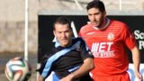 Ballymena's Neal Gawley hets ahead of Portadown opponent Sean Mackle
