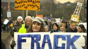 Barton Moss protest march