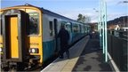 Train from Cardiff about to leave Newbridge Station