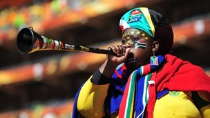 A South Africa supporter blows a Vuvuzela as she awaits the Opening Ceremony ahead of the 2010 FIFA World Cup South Africa Group A match between South Africa and Mexico at Soccer City Stadium on June 11, 2010 in Johannesburg