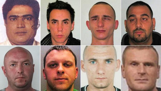 Wanted men (clockwise from top left): Rouf Uddin, Alexandru Cucu, Janusz Kedziora, Balint Budi, Jan Hiszpanski, Patryk Kokoryk, Mantas Jurgsat and Krzysztof Malkowski
