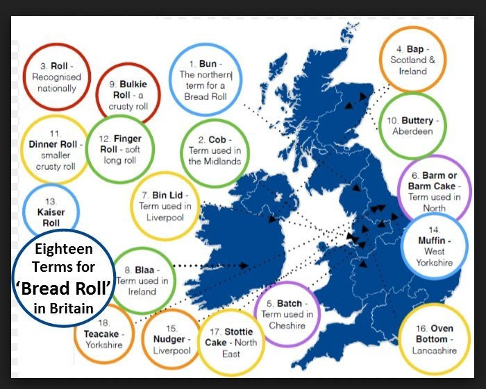 UK map of bread names