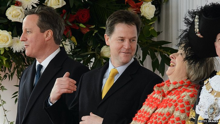 David Cameron, Nick Clegg and Theresa May