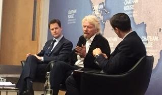Nick Clegg and Richard Branson at drugs event