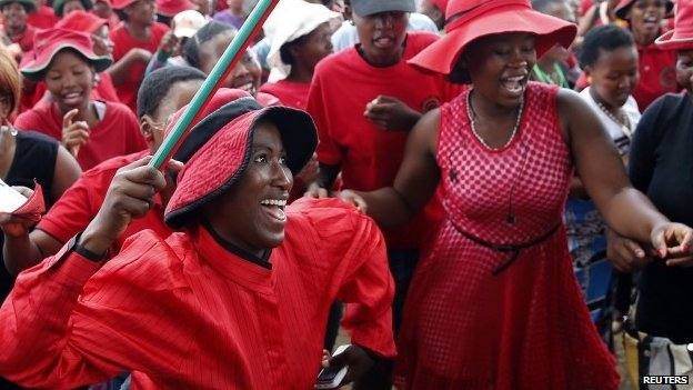 Supporters of the Democratic Congress (DC) party chant slogans in Lesotho's capital, Maseru, ahead of February's elections