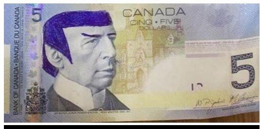 Spocked dollar bill