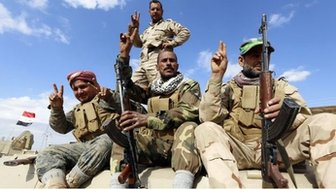 Iraqi security forces and Shia fighters in the Salahuddin province. Photo: 3 March 2015