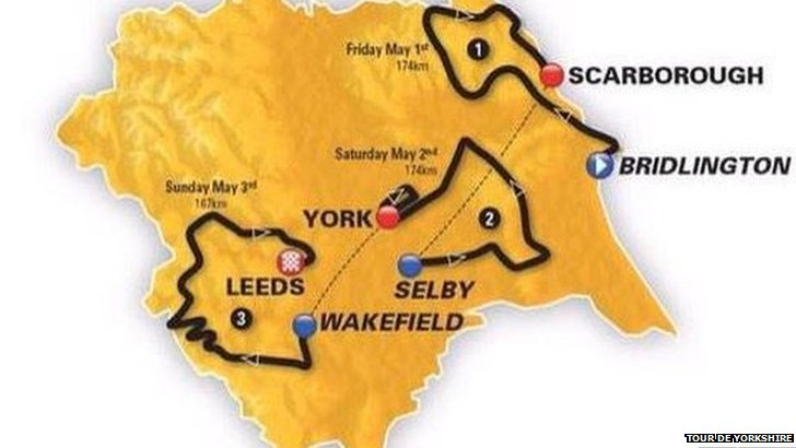 Tour de Yorkshire map