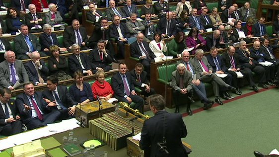 David Cameron faces the opposition benches