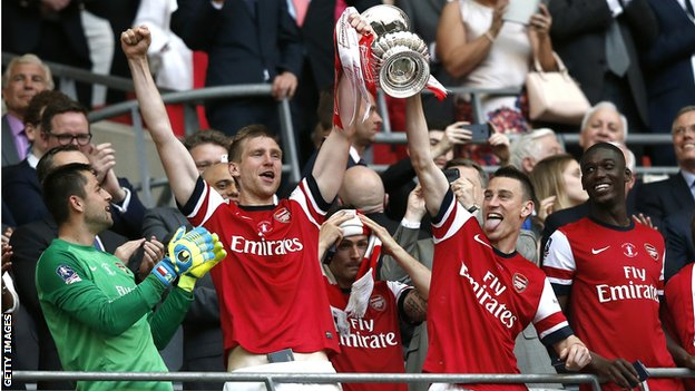 Arsenal celebrate winning the FA Cup in 2014