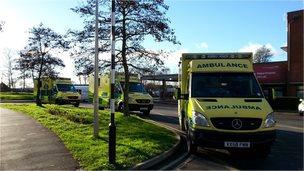 Ambulances outside Gloucestershire Royal Hospital