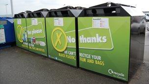 Recycling bins at Salerie Corner car park, Guernsey