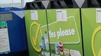 Recycling bins at Salerie Corner car park, Guernsey