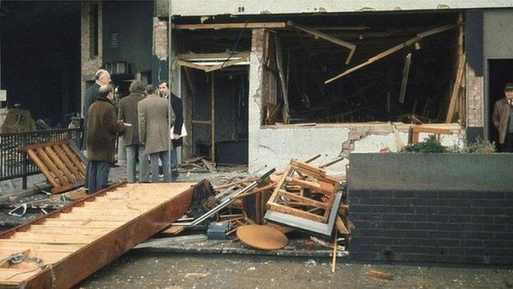 Bombed pub exterior
