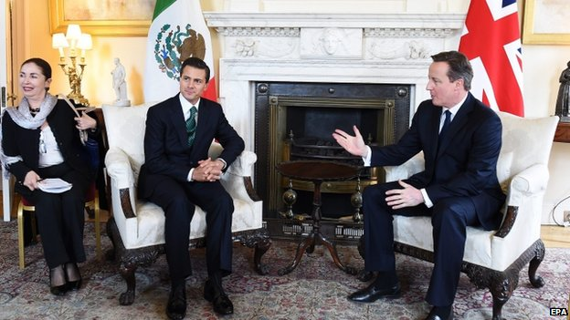 David Cameron (right) and Mexican President Enrique Pena Nieto