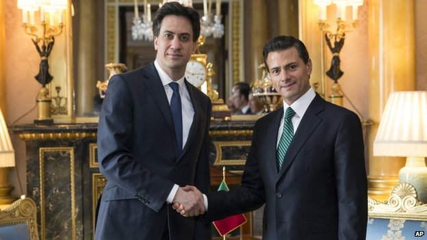 Labour leader Ed Miliband (left) and Mexican President Enrique Pena Nieto at Buckingham Palace.