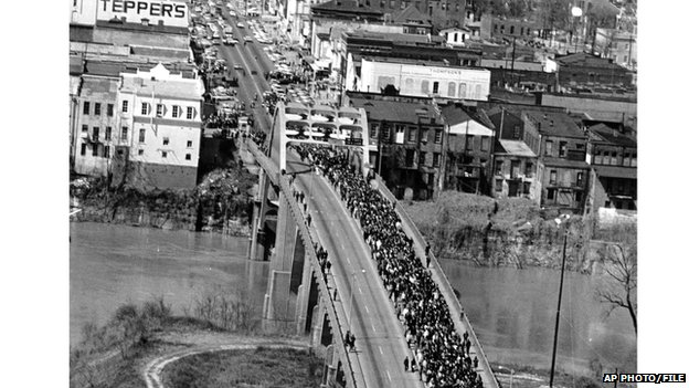 March from Selma to Montgomery across the Edmund Pettus Bridge in 1965