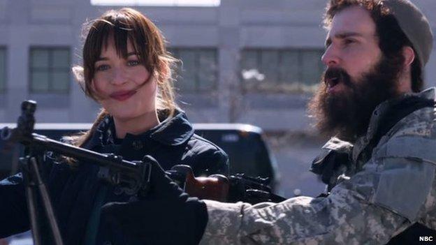 Actress Dakota Johnson and an Islamic State fighter