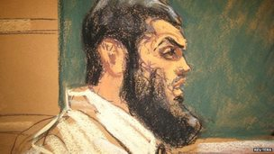 Abid Naseer, 28, makes opening statements on the first day of his trial in Brooklyn, New York as seen in a courtroom sketch 17 February 2015