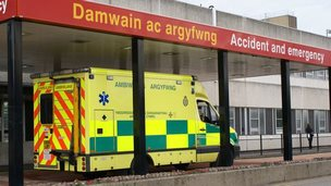 Ambulance outside Glan Clwyd hospital