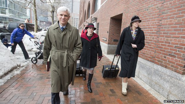 Members of Tsarnaev's defence team enter the courthouse