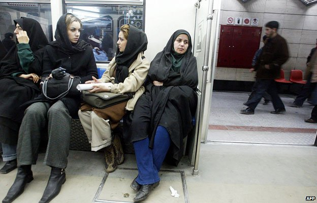 Women sitting on metro