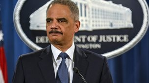"""US Attorney General Eric Holder addresses the Justice Department""""s findings in two investigations regarding the Ferguson, Missouri shooting of Michael Brown by Darren Wilson in Washington 4 March 2015"""