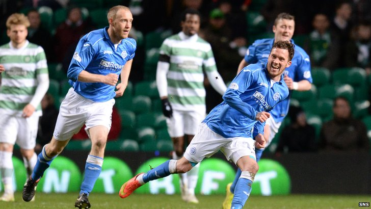 Danny Swanson celebrates what proved to be the winner at Celtic Park