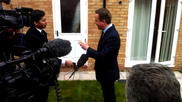 Media interviewing David Cameron