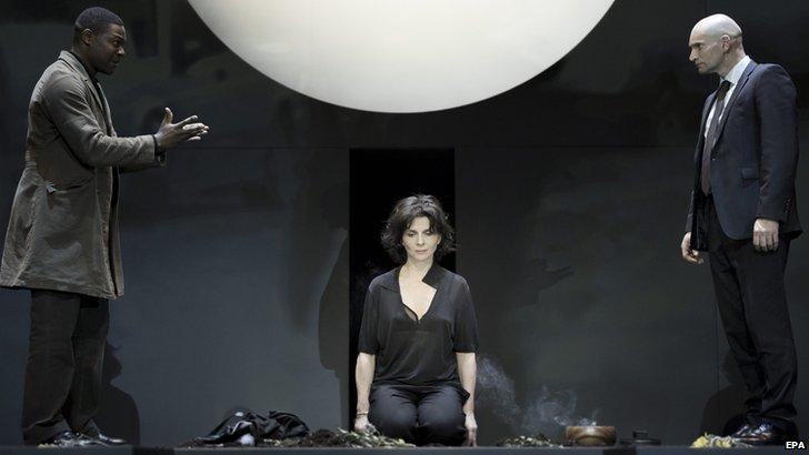 Juliette Binoche with Obi Abili (left) and Patrick O'Kane in Antigone