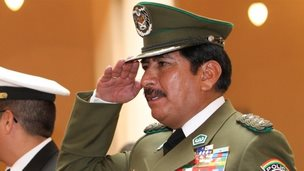 Oscar Nina salutes during his swearing-in ceremony at the government palace in La Paz, Bolivia on 24 January, 2010