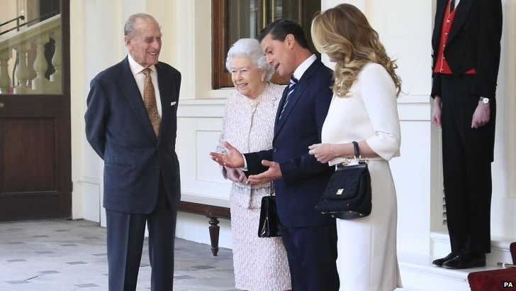 Queen Elizabeth II, Duke of Edinburgh, First Lady Angelica Rivera and President of Mexico Enrique Pena Nieto
