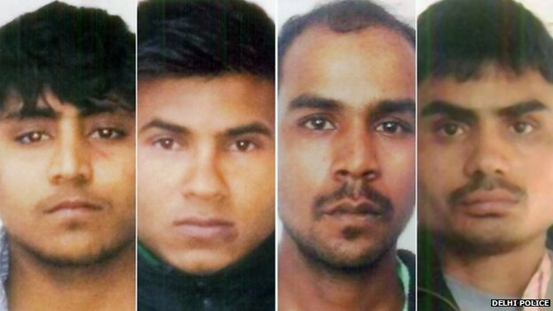 Mukesh Singh (second from right) and his fellow rapists are appealing against their sentences