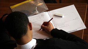 Pupil taking a GCSE maths exam