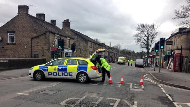 Police on the scene in Glossop