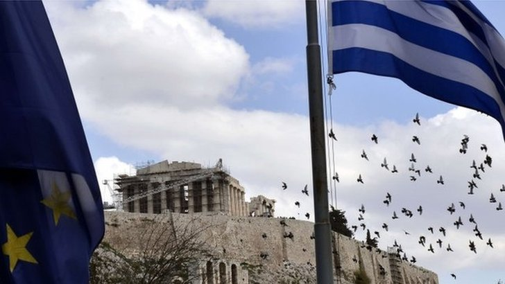 European and Greek flags near the Acropolis