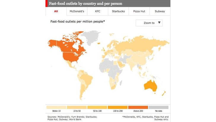 Fast food outlet global distribution