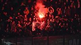 A flare is set off during Celtic's match against Inter Milan