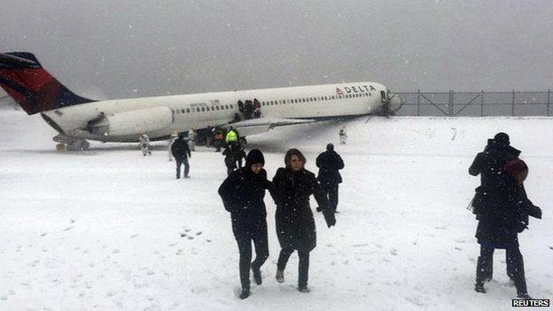 US snow: Plane skids off New York runway
