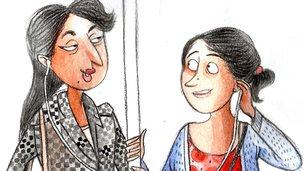 Cartoon of women chatting on the metro