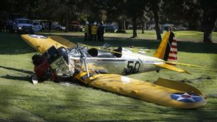 Harrison Ford's crashed aeroplane on Penmar Golf Course, Venice, California 5 March 2015