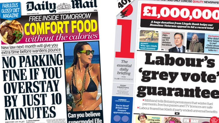 Daily Mail and i front pages on 06/03/15
