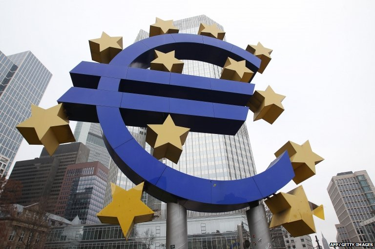 The EURO logo is pictured in front of the former headquarter of the European Central Bank