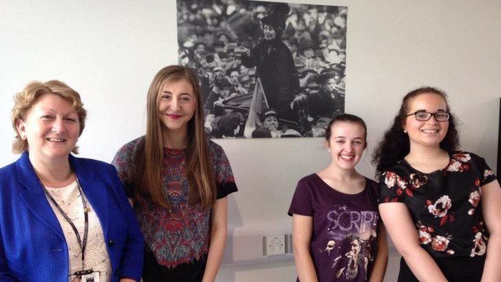Head of Holly Lodge Girls College Julia Tinsley with Hannah, Sophie and Patrice in new Emmeline Pankhurst building.