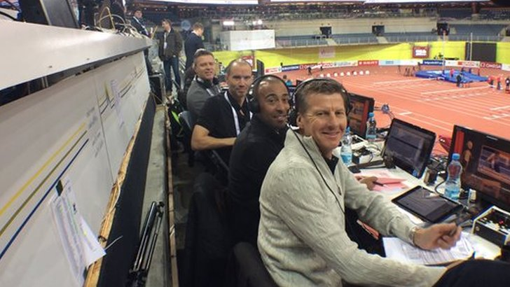 Steve Cram in Prague's athletics stadium