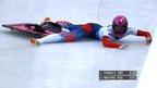 VIDEO: Skeleton slider misses sled