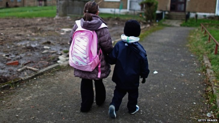Children walking home