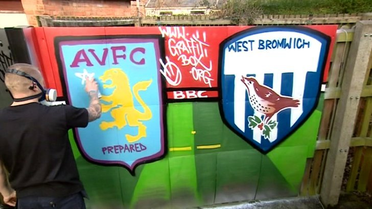 Graffiti spraying Aston Villa v West Brom